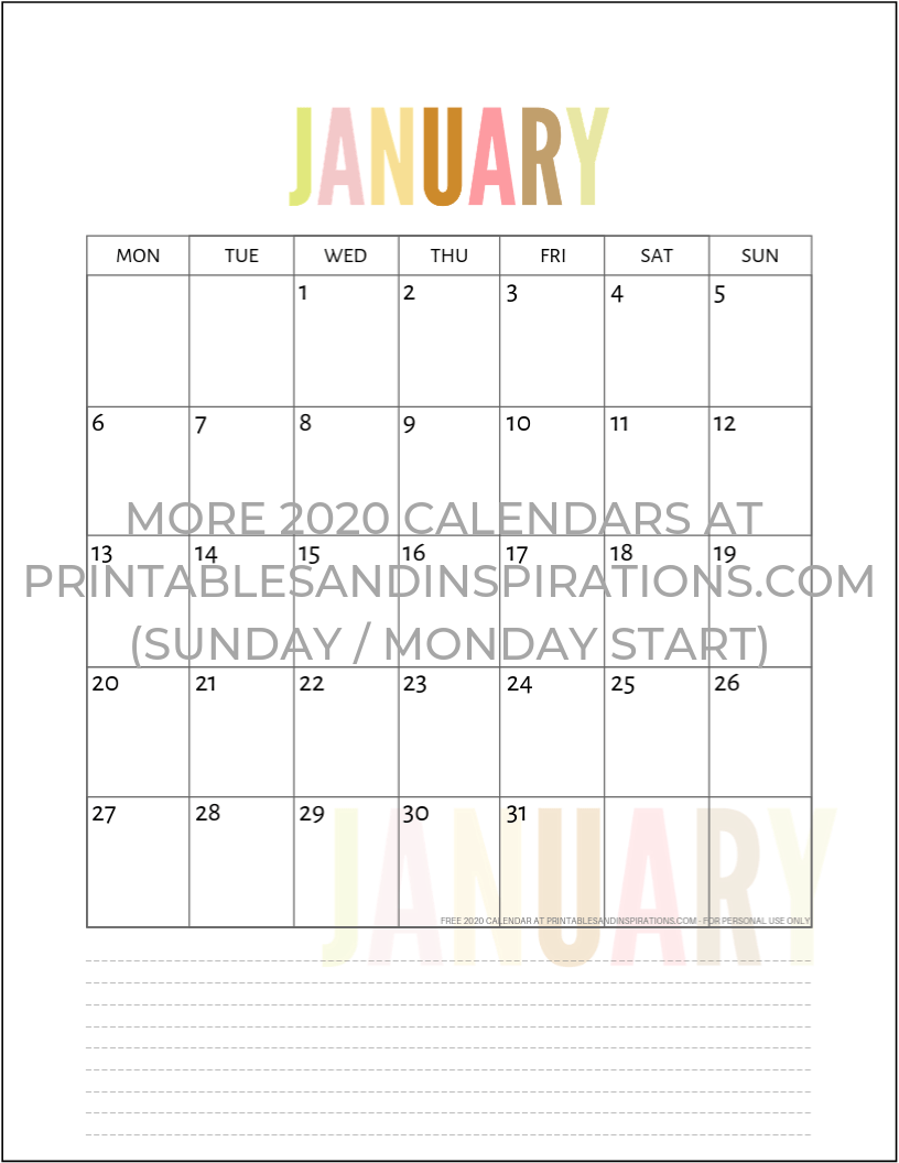 graphic about Free Printable Teacher Planner Pdf known as Free of charge 2020 Calendar Printable Planner PDF - Printables and