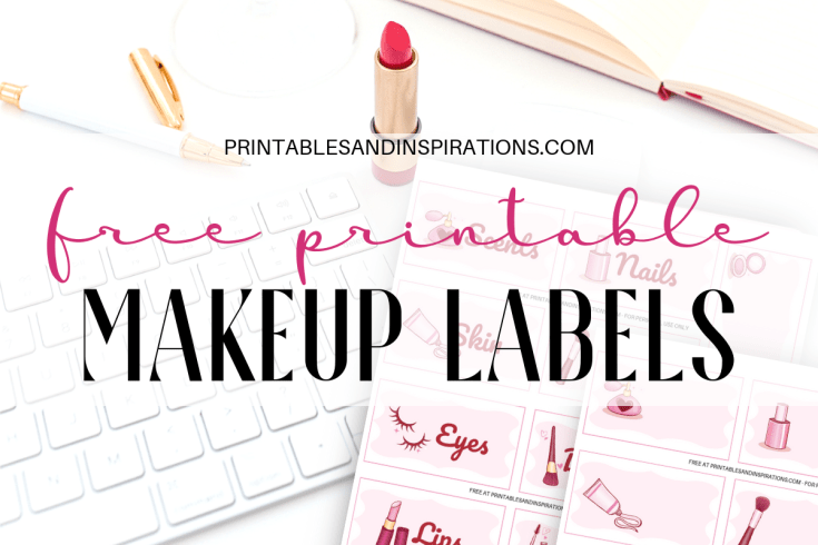 Free Makeup Label Stickers Printable! Cute stickers to help you organize your makeup or cosmetics or use as bullet journal planner stickers. Free download now! #freeprintable #makeuplover #organization #printablesandinspirations #konmari #printablestickers
