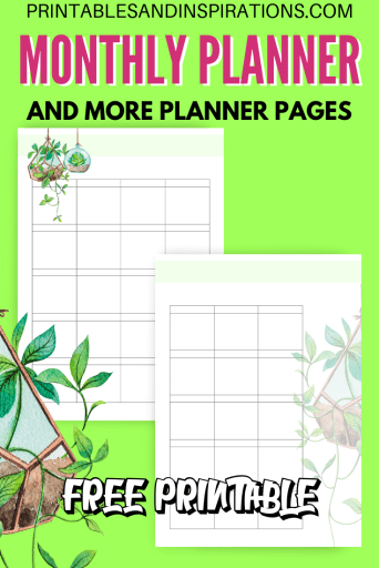 Free printable monthly planner or monthly calendar template plus more free planner pages! #freeprintable #printablesandinspirations #plannerlover #planneraddict
