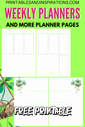 Free printable weekly planner spread plus more free planner pages! #freeprintable #printablesandinspirations #plannerlover #planneraddict