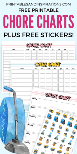 Free Printable Chore Charts And Chore Stickers - Free planner stickers for your bullet journal, for organizing and spring cleaning. Chore charts also for kids! #freeprintable #printablesandinspirations #plannerstickers #bulletjournal #organization #springcleaning #Konmari
