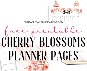 Free Printable Cherry Blossoms Calendar For 2019 2020 And Planner Pages! With free weekly planners, dot grid paper and free planner stickers. Free PDF download now! #freeprintable #printablesandinspirations #diyplanner #plannerstickers #bulletjournal