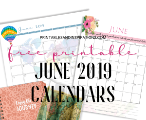 Free Printable June 2019 Calendar PDF - beautiful floral and simple designs. Free download now! #freeprintable #printablesandinspirations