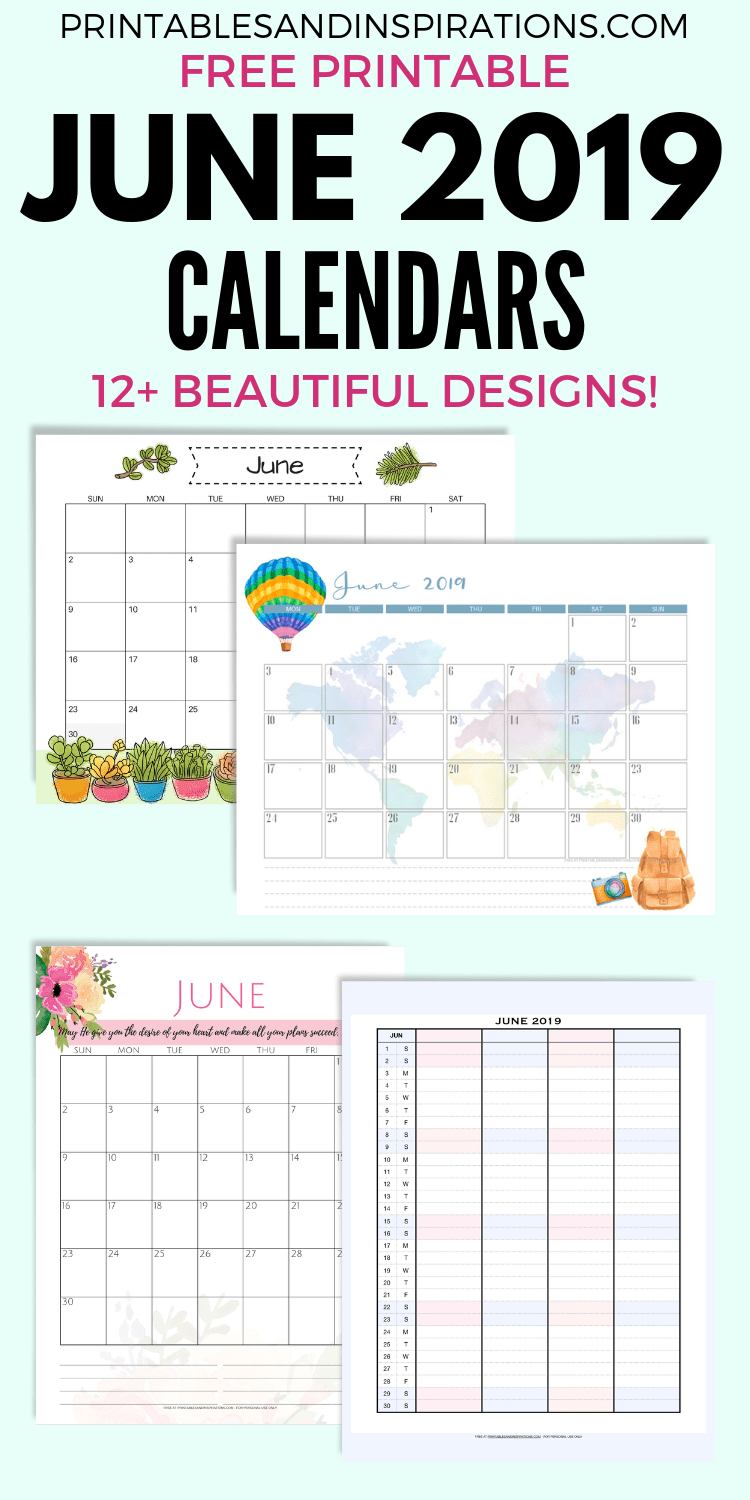 photograph about Free Printable June Calendar named Free of charge June 2019 Calendar Printable PDF - Printables and