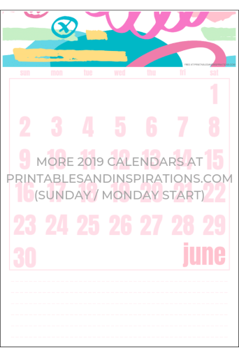 Free June 2019 Calendar Printable - with pink patterns! More pink calendars here. #freeprintable #printablesandinspirations #pink