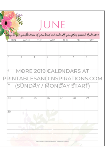 June 2019 Monthly Planner Printable PDF - with more pink life planner pages! #freeprintable #printablesandinspirations #printableplanner
