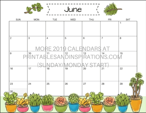 Free Printable June 2019 Calendar PDF - with succulents design. Free download now! #freeprintable #printablesandinspirations #succulents