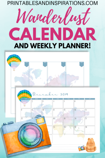 Free Printable 2019 Calendar And Weekly Planner - Wanderlust! Travel theme planner pages PDF download. #wanderlust #travel #freeprintable #weeklyplanner #printablesandinspirations