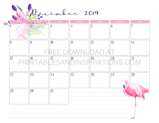 December 2019 Flamingo Calendar Printable #flamingo #freeprintable #pink #printablesandinspirations