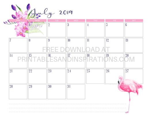 July 2019 Flamingo Calendar Printable #flamingo #freeprintable #pink #printablesandinspirations