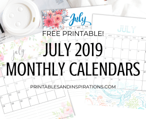 July 2019 calendar pdf - free printable monthly planner with beautiful designs! #freeprintable #printablesandinspirations #july