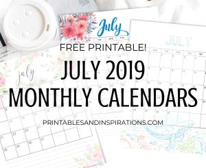 July 2019 calendar pdf - free printable monthly planner with beautiful designs! #freeprintable #printablesandinspirations #july