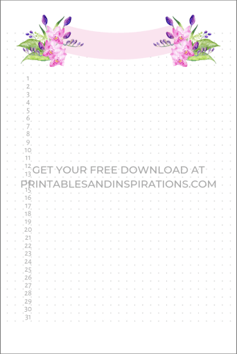 Monthly log printable - bullet journal dot grid page with floral header. #bulletjournal #monthlylog #printablesandinspirations #freeprintable
