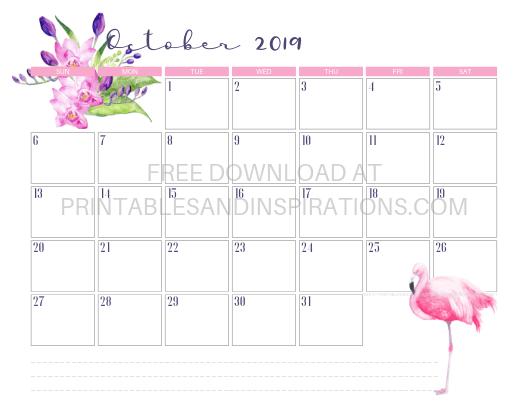 October 2019 Flamingo Calendar Printable #flamingo #freeprintable #pink #printablesandinspirations