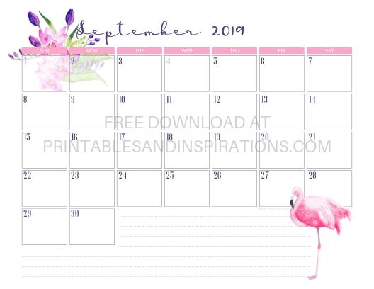 September 2019 Flamingo Calendar Printable #flamingo #freeprintable #pink #printablesandinspirations