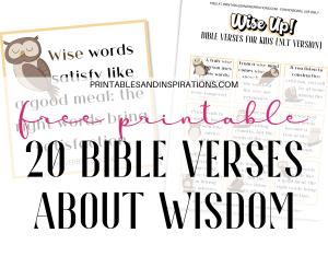 Free Printable Bible Verses For Kids About Wisdom. #bibleverseoftheday #memoryverse #sundayschool #freeprintable #biblequotes #printablesandinspirations #wisdom