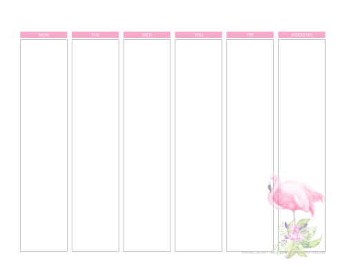 Weekly planner printable - flamingo weekly planner #freeprintable #printablesandinspirations #flamingo