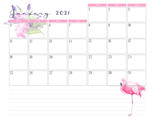 January 2021 calendar free printable - 2021 calendar with flamingo #freeprintable #printablesandinspirations #2021calendar #flamingo