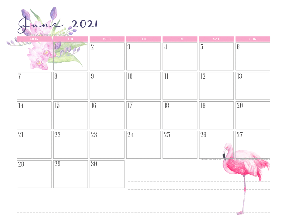 June 2021 calendar free printable - 2021 calendar with flamingo #freeprintable #printablesandinspirations #2021calendar #flamingo