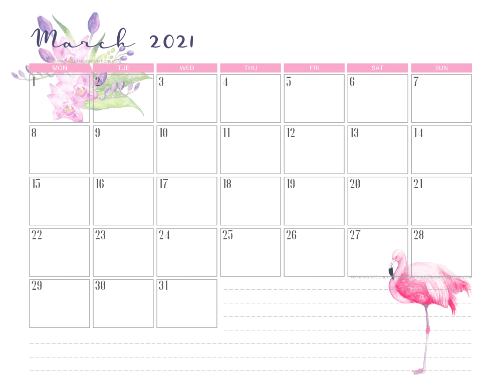 March 2021 calendar free printable - 2021 calendar with flamingo #freeprintable #printablesandinspirations #2021calendar #flamingo