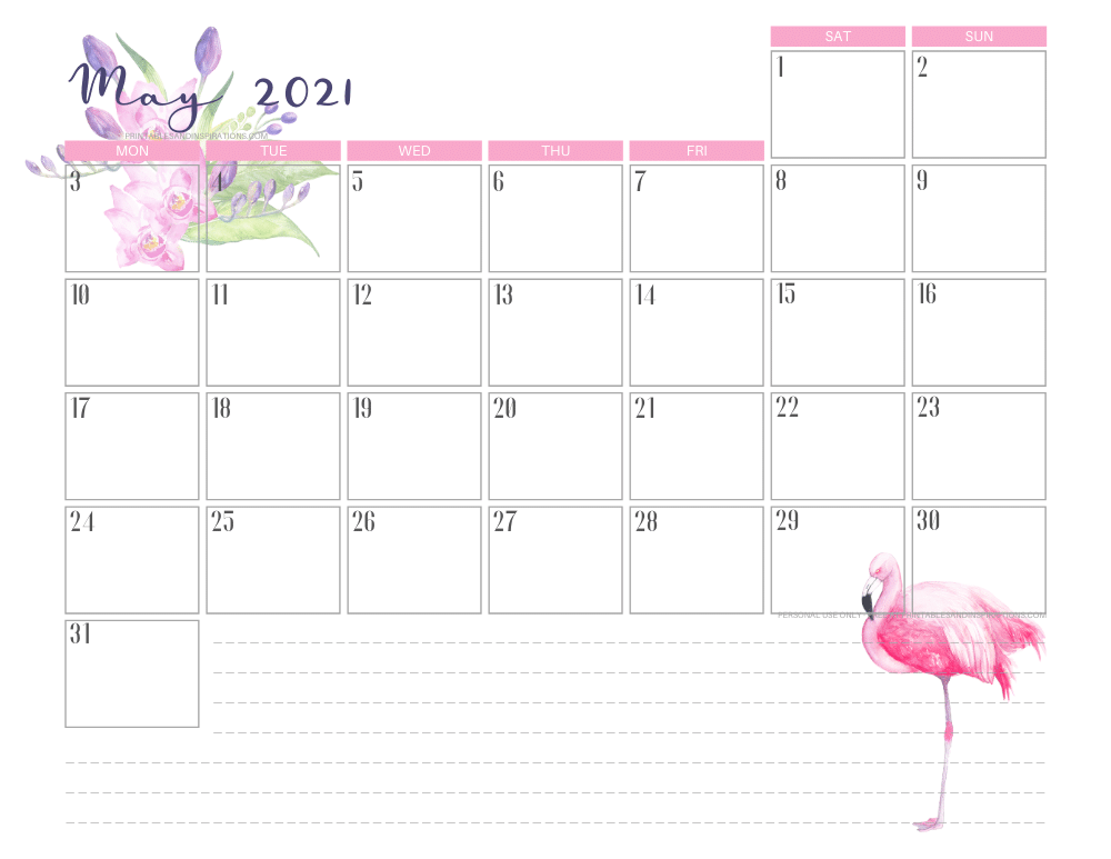 May 2021 calendar free printable - 2021 calendar with flamingo #freeprintable #printablesandinspirations #2021calendar #flamingo