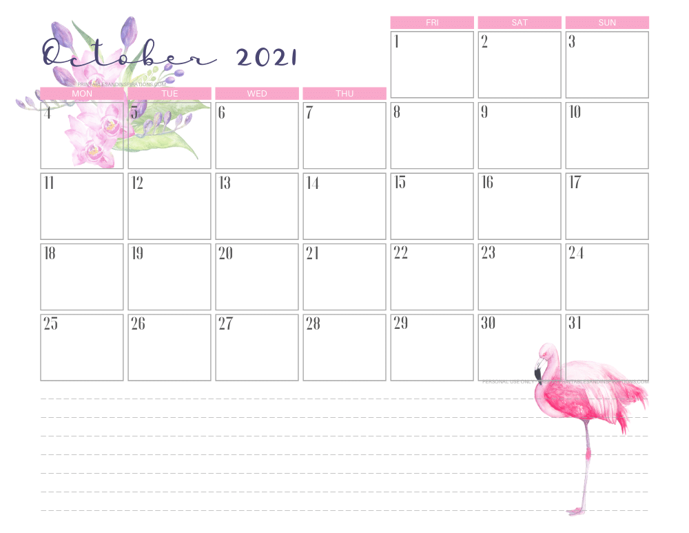 October 2021 calendar free printable - 2021 calendar with flamingo #freeprintable #printablesandinspirations #2021calendar #flamingo