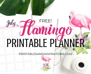 Free Printable Flamingo Planner PDF - DIY planner with pink flamingos plus bullet journal printables. #diy #printableplanner #freeprintable #flamingo #printablesandinspirations #bulletjournal