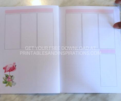 Weekly spread layout - DIY planner with pink flamingos plus bullet journal printables. #diy #printableplanner #freeprintable #flamingo #printablesandinspirations #bulletjournal