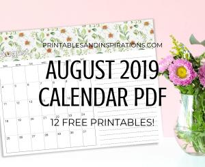 Free Printable August 2019 Calendar PDF - get your free download now! #printablesandinspirations #freeprintable
