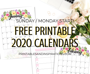 Free Printable 2020 Calendar With Flowers - beautiful floral monthly calendar for 2020 plus weekly planner. Get your downloadable pdf now! #freeprintable #printablesandinspirations