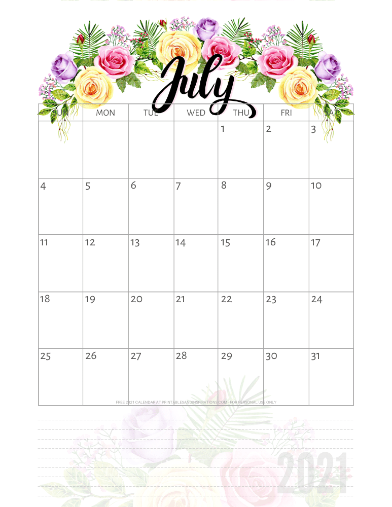 July 2021 pretty calendar printable - go to the previous post to download the PDF file #printablesandinspirations
