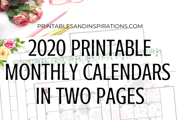 2020 Two Page Monthly Calendar Spread - free printable 2020 calendar planner in two pages, Sunday or Monday start calendar pdf, A4 binder inserts, A5 planner inserts. Get your free download now! #freeprintable #printablesandinspirations