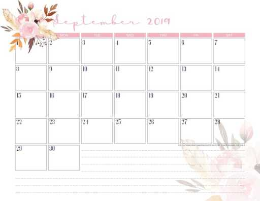 Free Printable September 2019 Calendar PDF - monthly calendar or planner with cute autumn designs. #freeprintable #planneraddict #printablesandinspirations #September #boho