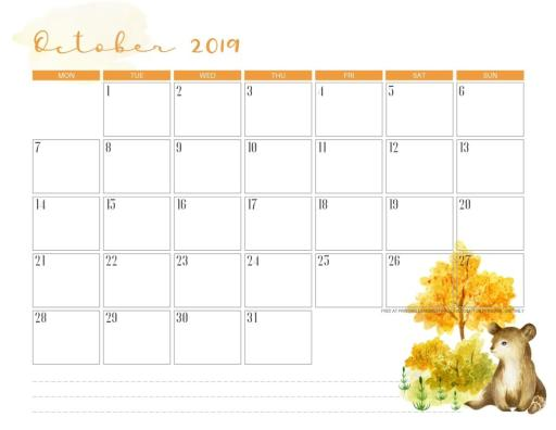 Free Printable October 2019 Calendar PDF - with beautiful flowers and autumn theme. Halloween theme included. Get your free download now! #freeprintable #printablesandinspirations #autumn #halloween #october