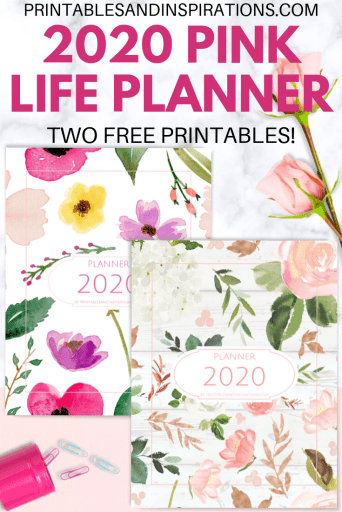 Free Printable Pink Life Planner 2020 - with 2020 calendar and more planner pages. Get your free pdf download now! #freeprintable #printablesandinspirations #pink #planneraddict #plannerlover #bulletjournal