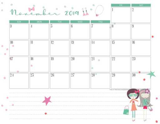 Free printable November 2019 calendar pdf with girls ready for shopping.