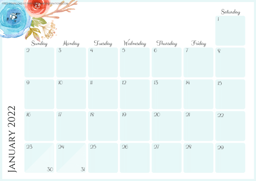 2022 blue calendar - free printable monthly planner with pretty flowers #printablesandinspirations - SEE PREVIOUS POST TO DOWNLOAD THE COMPLETE 2022 CALENDAR