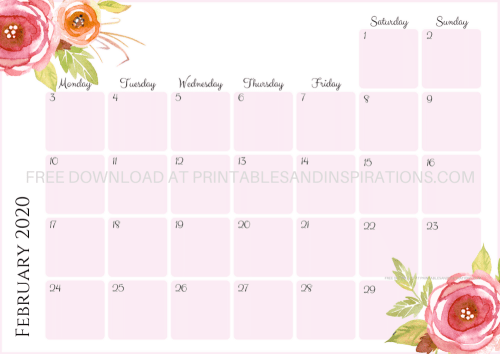 Free Printable Pink 2020 Monthly Calendar And Weekly Planner - 4 beautiful calendars for A4 size or A5 size with flowers. Free pdf download now! #freeprintable #printablesandinspirations