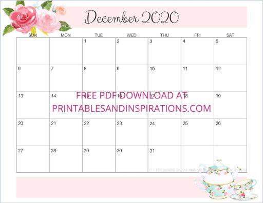 December 2020 calendar free printable #printablesandinspirations #freeprintable