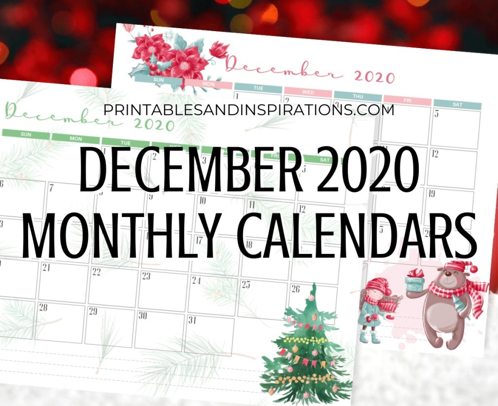 DECEMBER 2020 Monthly Calendar Free Printable PDF - 2020 monthly calendar. CHRISTMAS CALENDAR. Get your free download now! #freeprintable #printablesandinspirations
