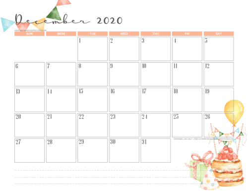 Printable December 2020 calendar - birthday calendar - #printablesandinspirations #freeprintable SEE PREVIOUS POST TO DOWNLOAD THE PDF FILE