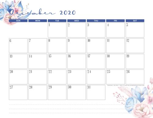 Printable December 2020 calendar - blue floral calendar - #printablesandinspirations #freeprintable SEE PREVIOUS POST TO DOWNLOAD THE PDF FILE