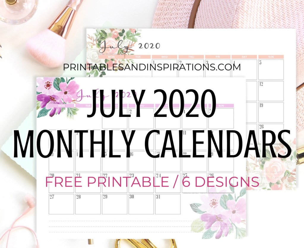 JULY 2020 Monthly Calendar Free Printable PDF - 2020 monthly calendar. Get your free download now! #freeprintable #printablesandinspirations