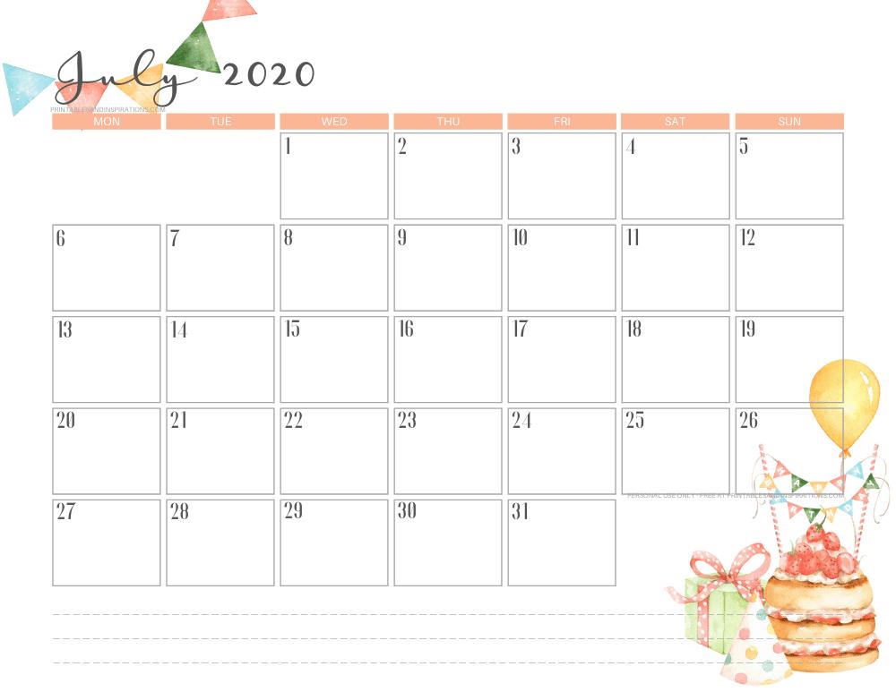 JULY 2020 birthday calendar printable - free printable monthly planner #freeprintable #printablesandinspirations