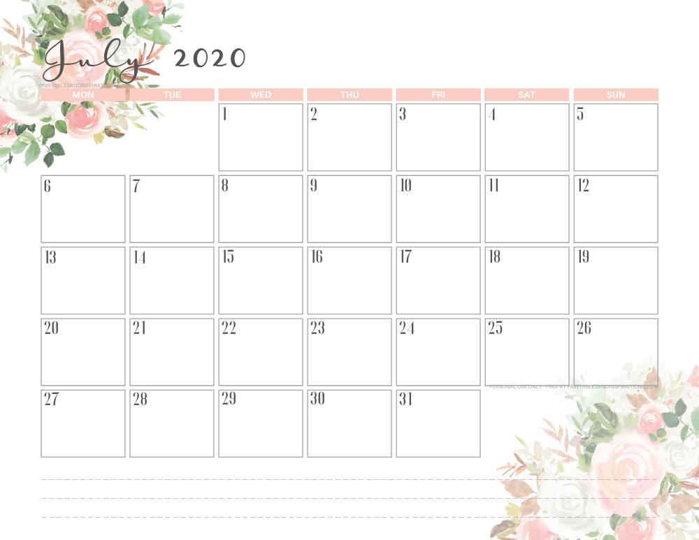JULY 2020 pink calendar printable - free printable monthly planner #freeprintable #printablesandinspirations