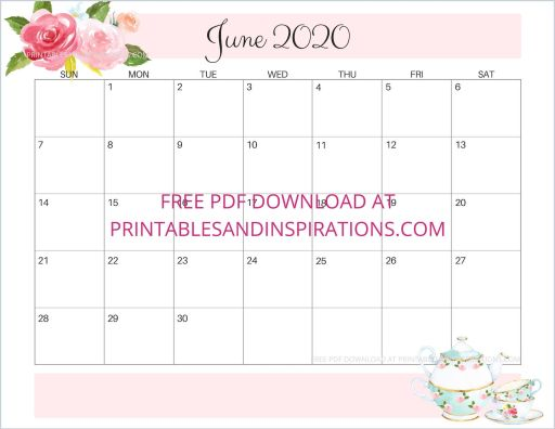 June 2020 calendar free printable #printablesandinspirations #freeprintable