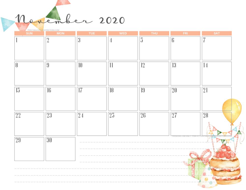 Free printable November 2020 calendar BIRTHDAY theme