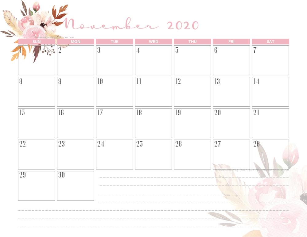 Free printable November 2020 calendar AUTUMN FLORAL theme