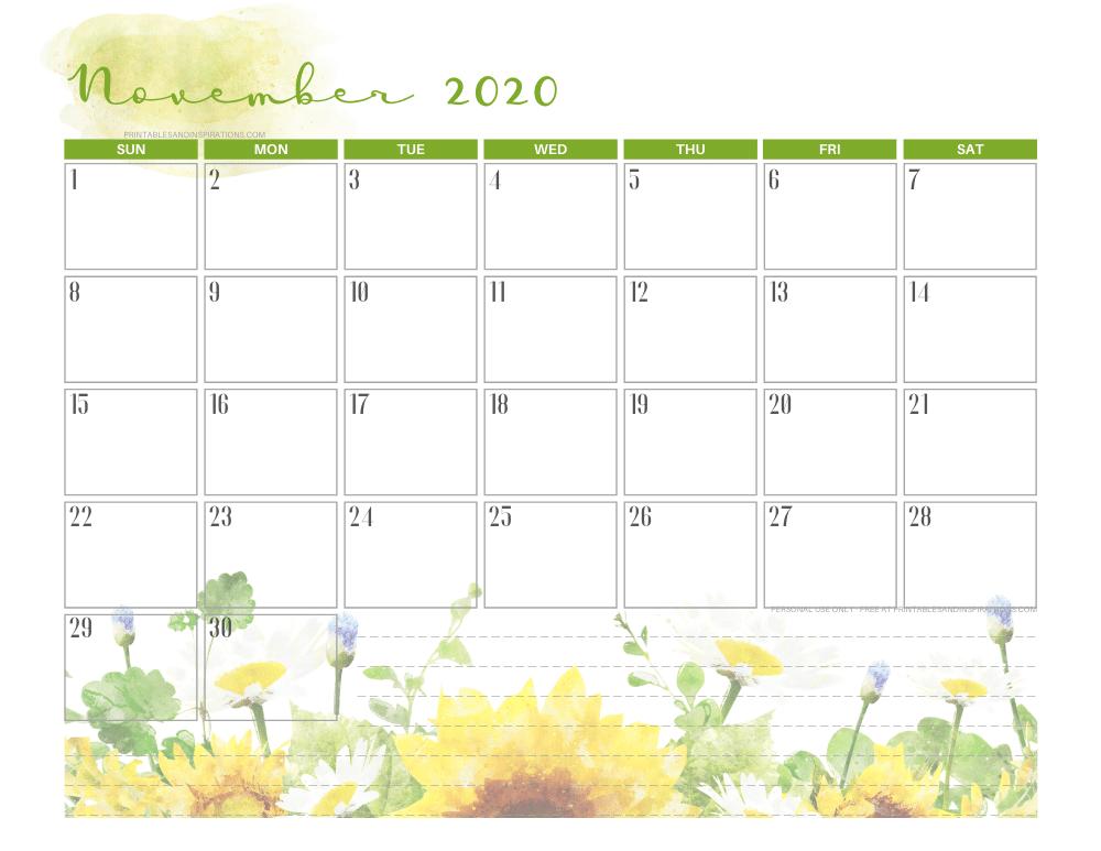 Free printable November 2020 calendar SUNFLOWERS theme