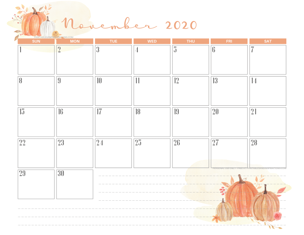 Free printable November 2020 calendar THANKSGIVING PUMPKINS theme